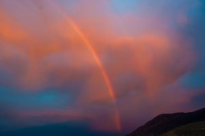 Sunset Rainbow at Walker Lake